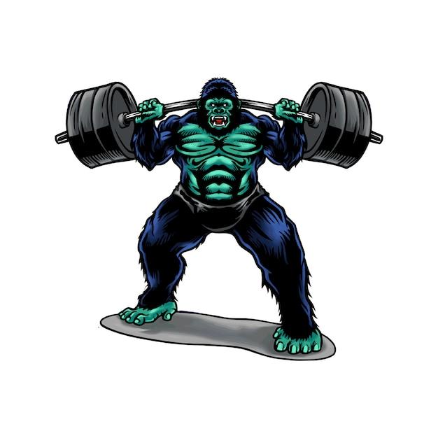 Sollevamento pesi di gorilla Vettore Premium