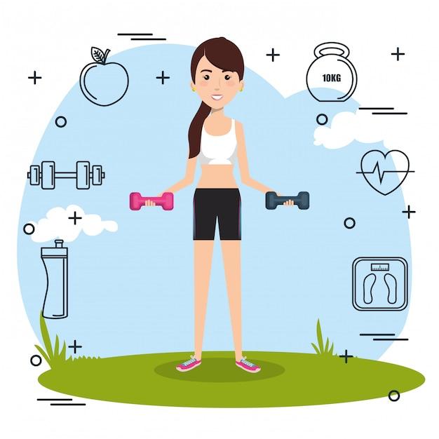 Sollevamento pesi donna con icone dello sport Vettore gratuito