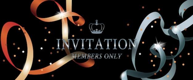 Solo i membri dell'invito striscione con nastri scintillanti Vettore gratuito