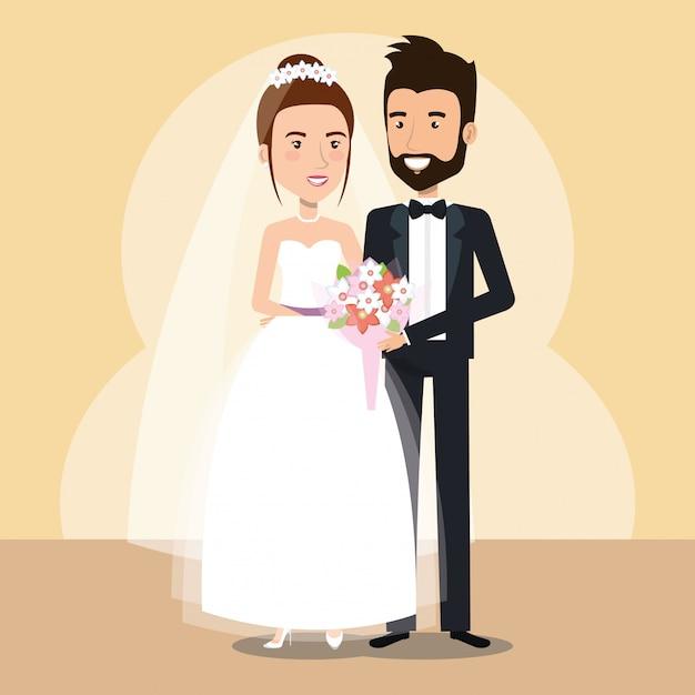 Solo personaggi della coppia di sposi Vettore gratuito