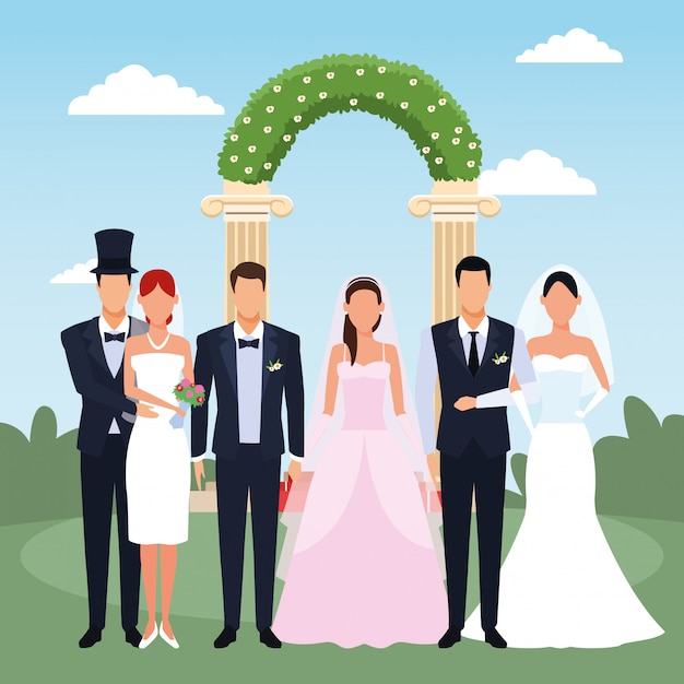Solo sposi in piedi sopra l'arco floreale e il paesaggio Vettore Premium