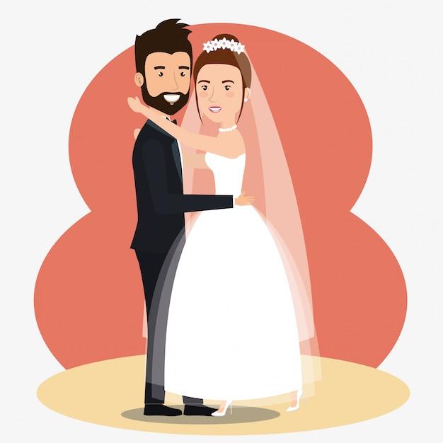 Solo una coppia sposata che balla personaggi avatar Vettore gratuito