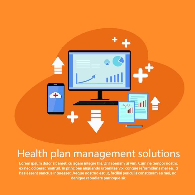 Soluzioni di gestione del piano sanitario banner modello web con copia spazio Vettore Premium