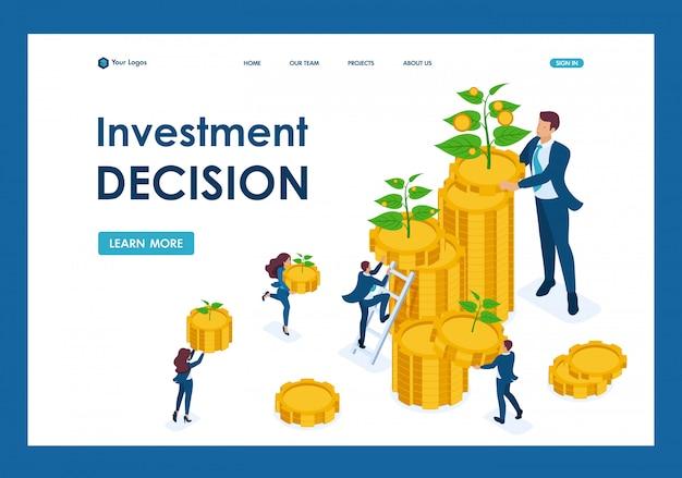 Soluzioni di investimento isometrico per la crescita del reddito, piccoli germogli crescono in una grande pagina di destinazione Vettore Premium