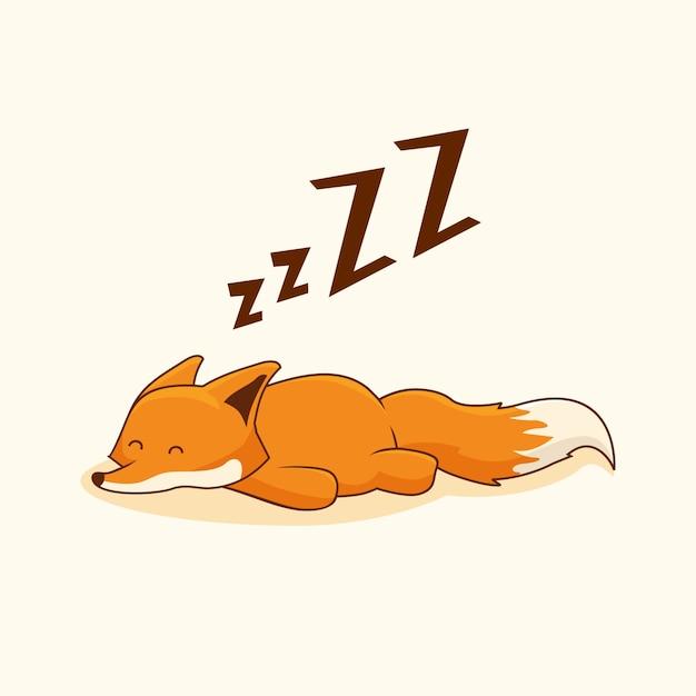 Sonno degli animali del fumetto di fox pigro Vettore Premium