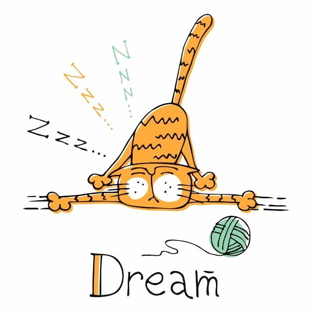 Sonno del gatto divertente del fumetto. stile carino Vettore Premium