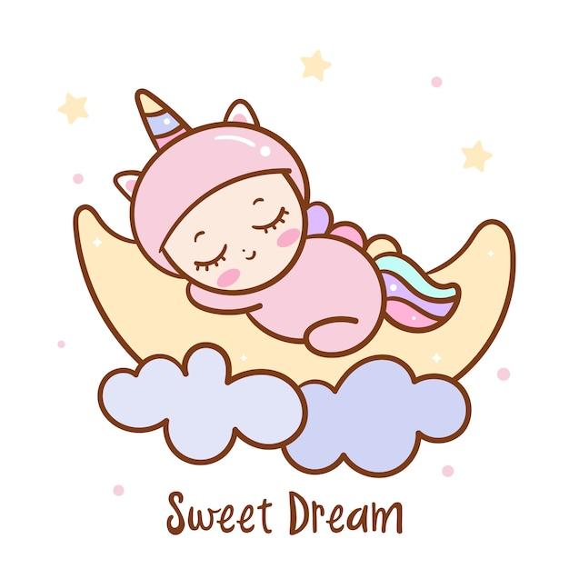 Sonno sveglio del bambino sulla serie di sogno dolce della luna Vettore Premium