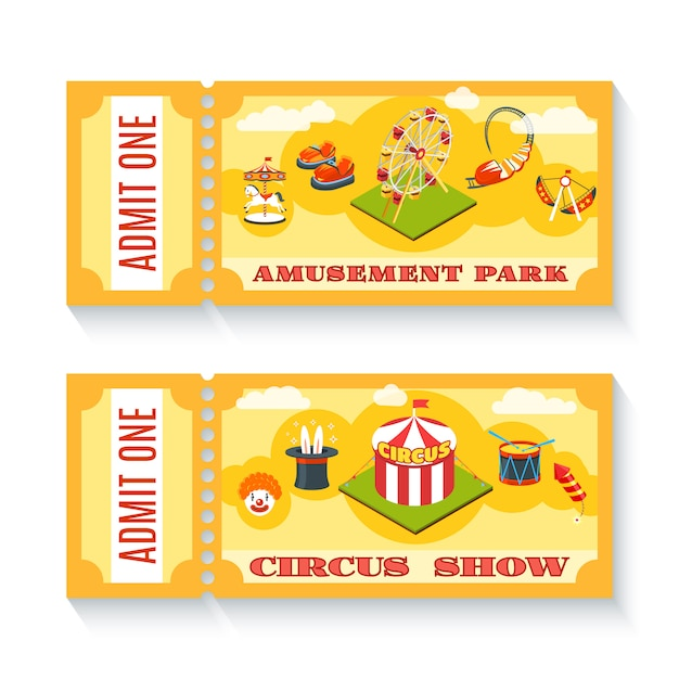 Sono disponibili due biglietti per il parco dei divertimenti d'epoca Vettore gratuito