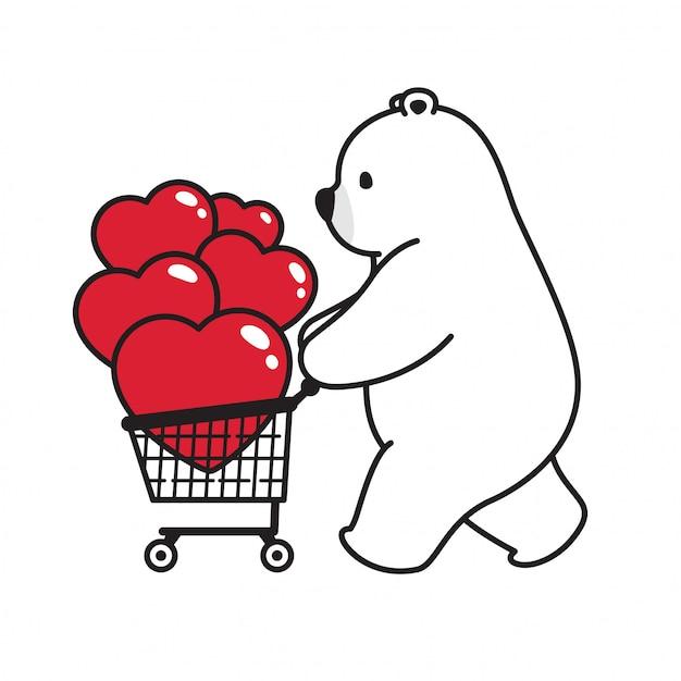 Sopporti il carrello del fumetto del biglietto di s. valentino del cuore dell'orso polare di vettore Vettore Premium