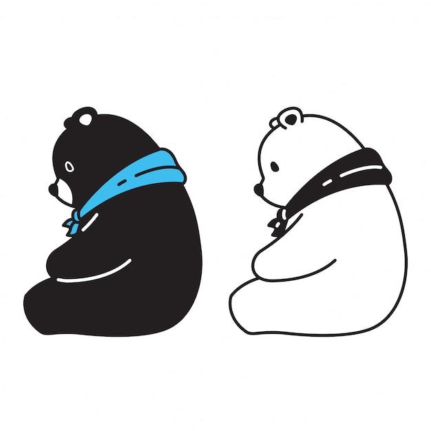 Sopporti il personaggio dei cartoni animati della sciarpa dell'orso polare di vettore Vettore Premium