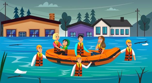 Sopravvissuti alle inondazioni del fumetto che si siedono in gommone Vettore Premium