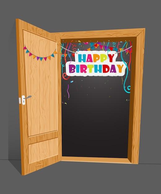 Sorpresa di compleanno con la porta aperta Vettore Premium