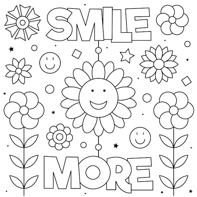 Sorridi di più disegno da colorare Vettore Premium
