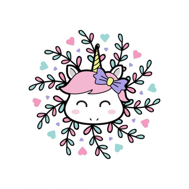 Sorridi unicorno bambino con mandala floreale Vettore Premium