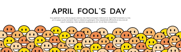 Sorriso giallo faces fool day april holiday Vettore Premium