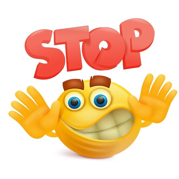 Sorriso giallo viso emoji personaggio dei cartoni animati con fermata gesto Vettore Premium