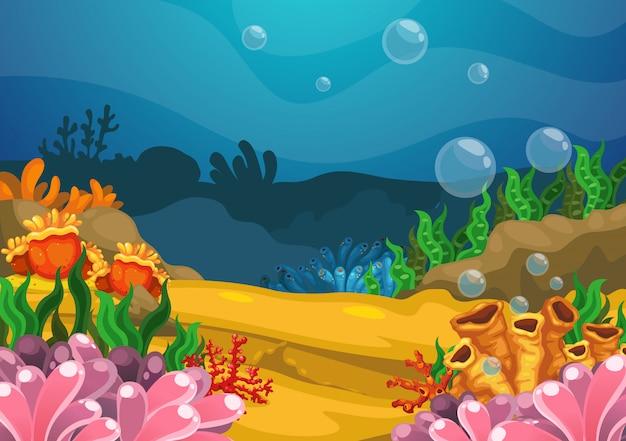 Sotto il vettore di sfondo del mare Vettore Premium