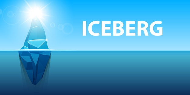 Sotto l'iceberg dell'oceano antartico dell'acqua. Vettore Premium