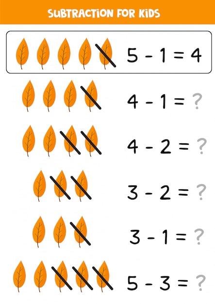 Sottrazione con foglie autunnali carine. gioco di matematica per bambini. Vettore Premium
