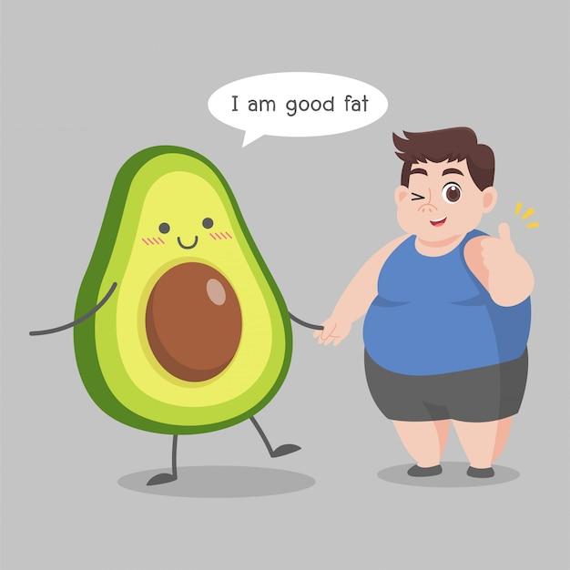 Sovrappeso man love avocado illustration Vettore Premium