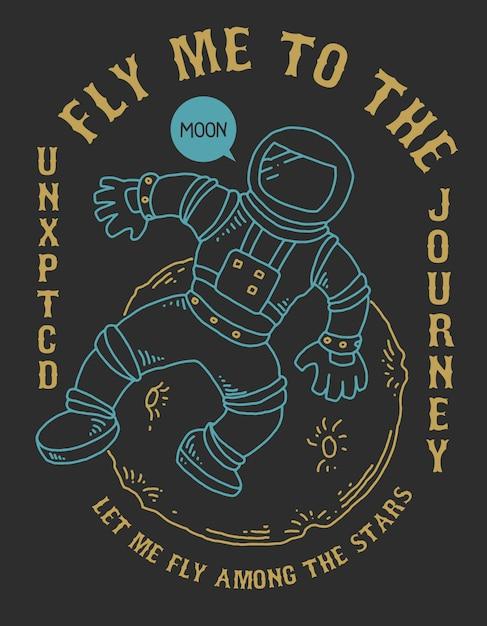 Space astronaut moon vector Vettore Premium