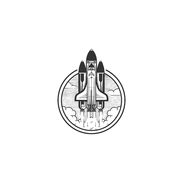 Space shuttle logo vintage illustration Vettore Premium