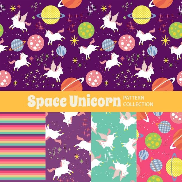 Space unicorn cute rainbow seamless pattern Vettore Premium