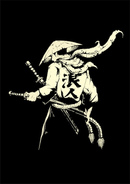 Spade giapponesi uomo con samurai Vettore Premium