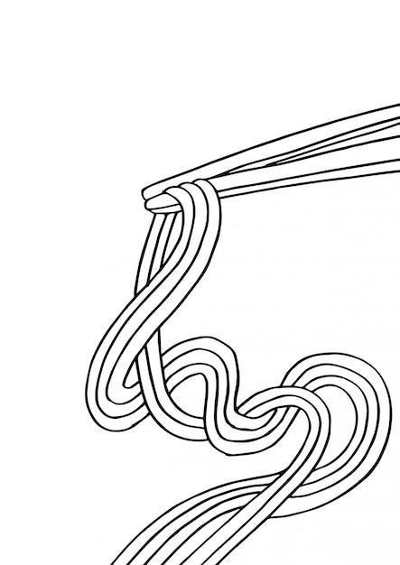 Spaghetti cinesi e bacchette Vettore Premium