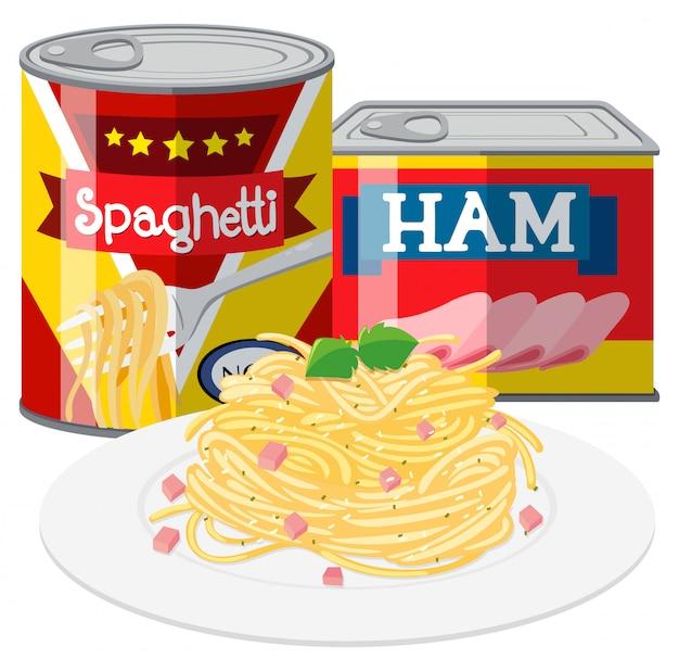Spaghetti e prosciutto nel cibo in scatola Vettore gratuito