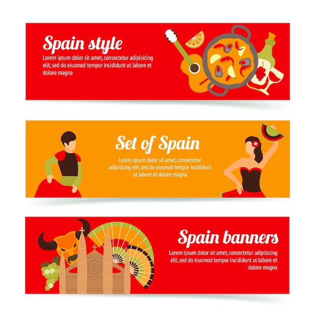Spagna spagnolo stile cultura vino flamenco bandiere impostare isolato illustrazione vettoriale Vettore gratuito