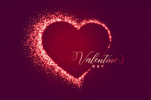 Sparkle cuore felice giorno di san valentino sfondo Vettore gratuito