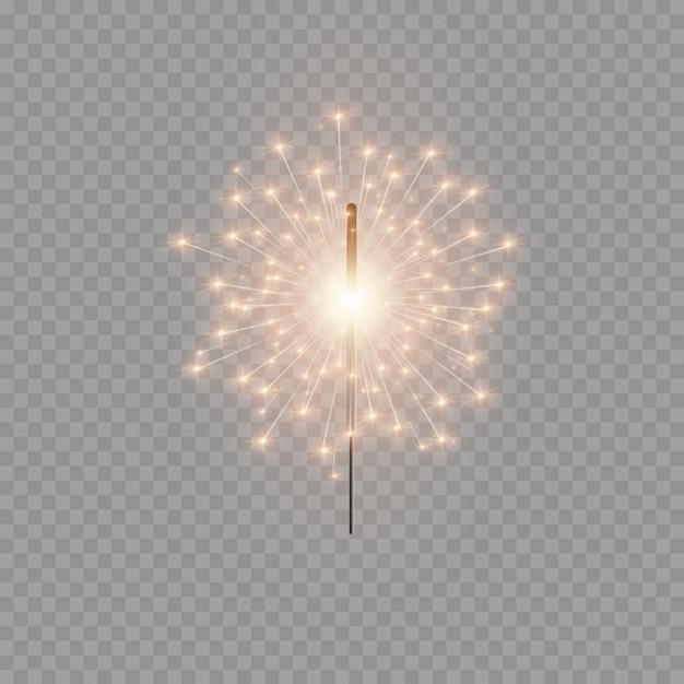 Sparkler di natale. bellissimo effetto di luce con stelle e scintille. fuochi d'artificio luminosi festivi. luci realistiche isolate su sfondo trasparente. elemento decorativo per feste e festività. Vettore Premium