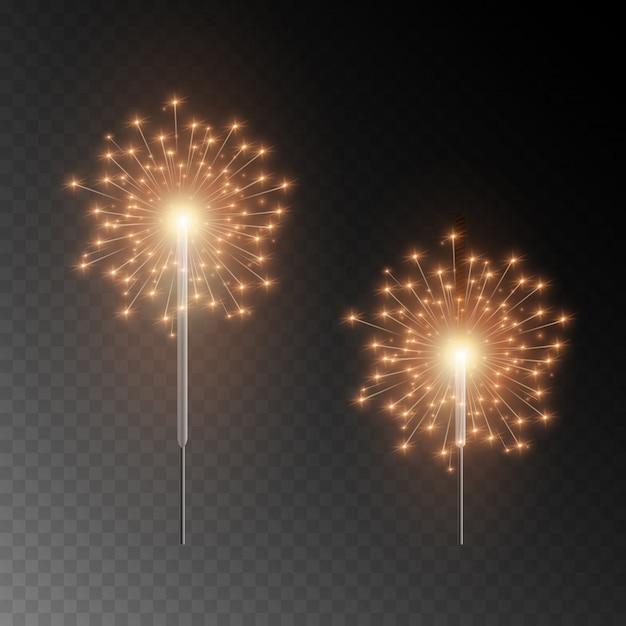 Sparkler di natale. bellissimo effetto di luce con stelle e scintille. fuochi d'artificio luminosi festivi. luci realistiche isolate su sfondo trasparente. Vettore Premium