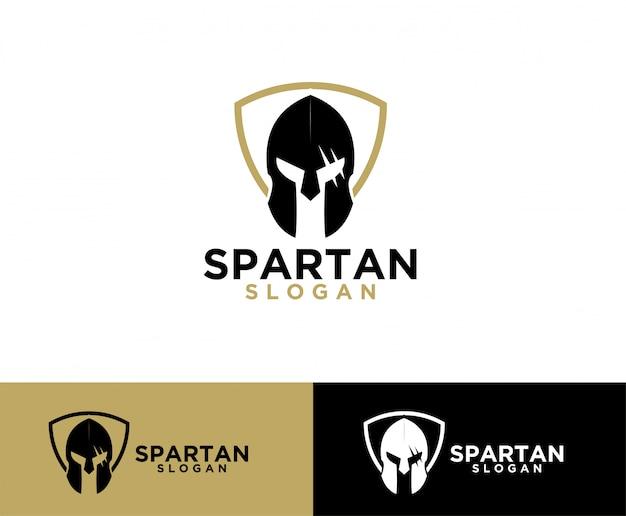 Sparta shield helm symbol logo design Vettore Premium