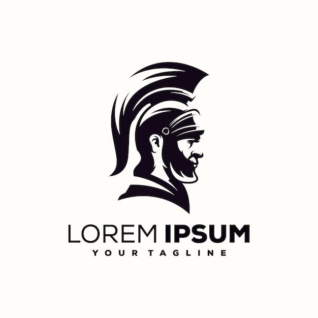 Spartan logo design vettoriale Vettore Premium
