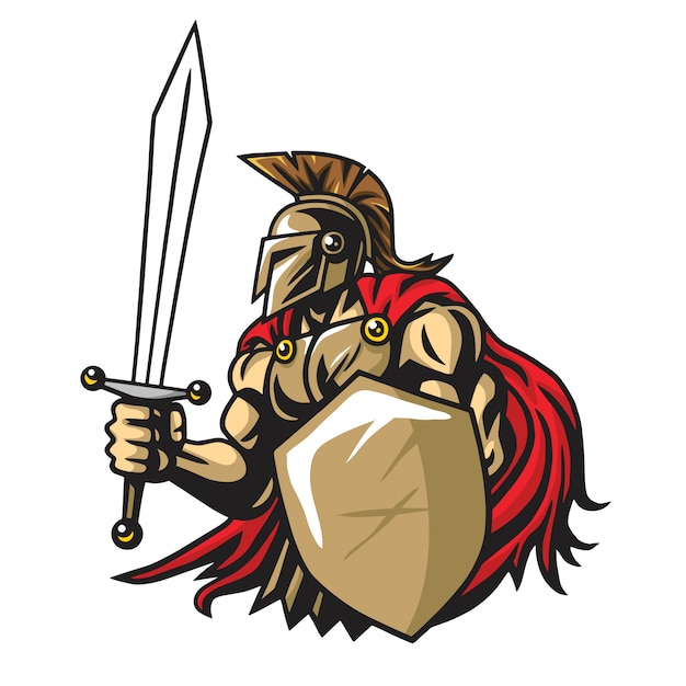 Spartan warrior vector mascot Vettore Premium