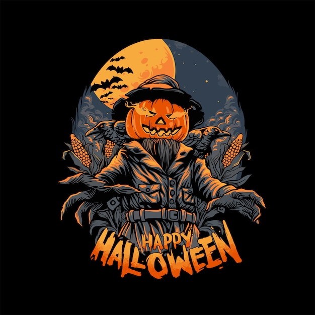 Spaventapasseri a halloween Vettore Premium