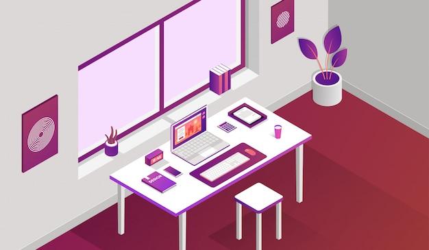 Spazio di lavoro con elementi isometrici davanti alla finestra Vettore Premium