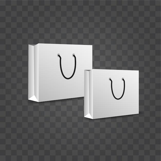 Spazio in bianco del sacchetto della spesa di carta su fondo trasparente Vettore Premium