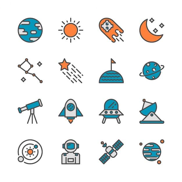 Spazio in colorline icon set design Vettore Premium