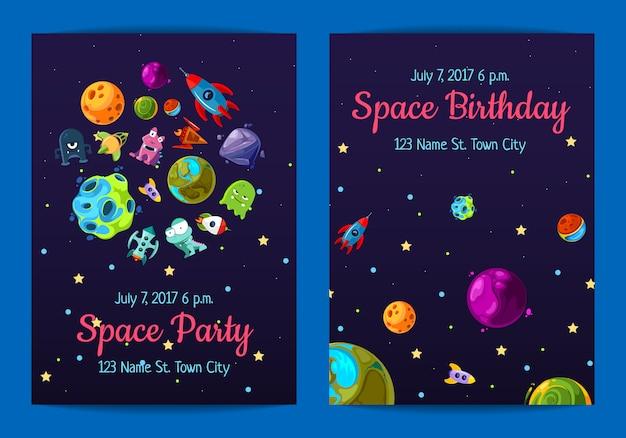 Spazio invito a una festa di compleanno con elementi spaziali, pianeti e navi Vettore Premium