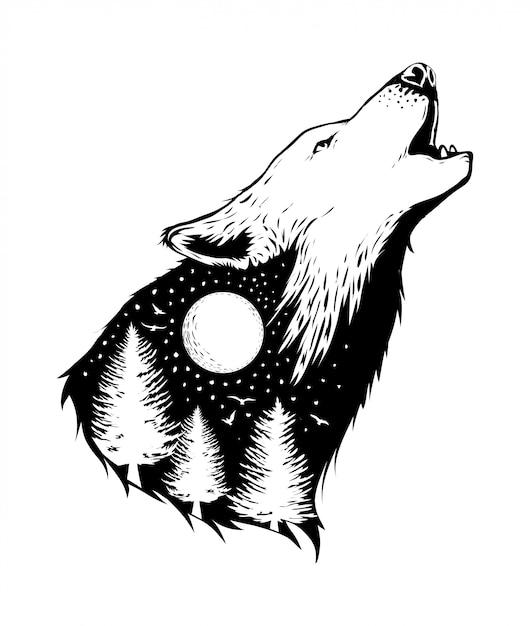 Spazio negativo di un lupo con sfondo foresta Vettore Premium