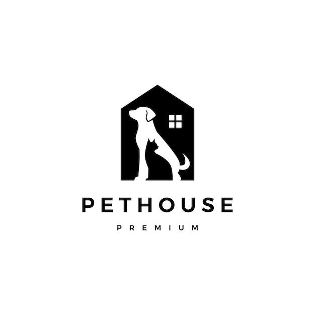 Spazio negativo di vettore di logo della casa della casa dell'animale domestico del gatto del cane Vettore Premium