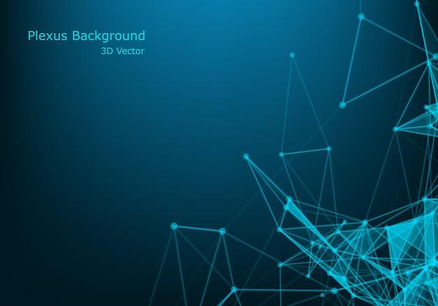 Spazio poligonale astratto basso poli sfondo scuro con punti e linee di collegamento. Vettore Premium