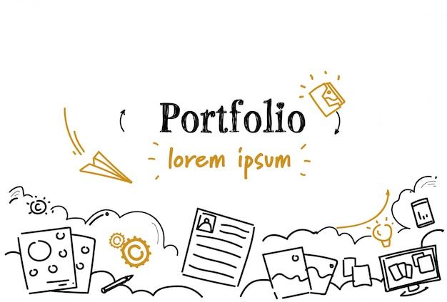 Spazio professionale della copia di scarabocchio di schizzo del concetto del portafoglio di riassunto di occupazione del documento di affari Vettore Premium
