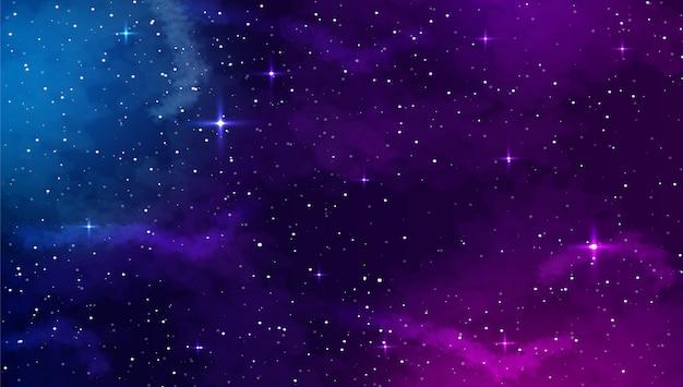Spazio sfondo con forma astratta e stelle. Vettore Premium