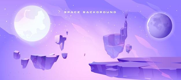 Spazio sfondo con paesaggio del pianeta alieno Vettore gratuito