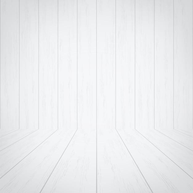Spazio vuoto della stanza in legno bianco per lo sfondo. Vettore Premium