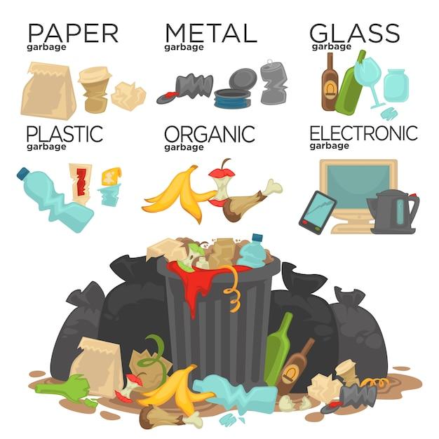 Spazzatura che ordina rifiuti alimentari, vetro, metallo e carta, plastica Vettore Premium